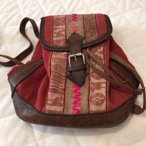 Handbags - Bohemian leather tapestry small bucket bag crossbo